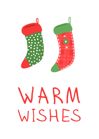 Hand drawn set of Cozy Christmas socks for gifts on white background. Happy Holidays greeting  card. Funny cartoon drawing and text. Vector art illustration