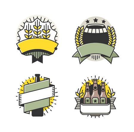 Vector Line Art Badge. Craft Beer Logo. Vintage Label for Brew House or Pub. Retro Brewery Template and Design Element.