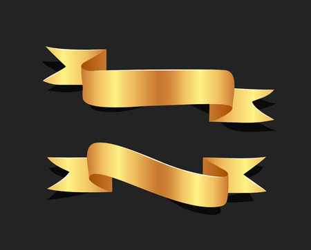 Hand drawn gold satin ribbons on blacke background isolated. Flat objects for your design. Vector art illustration Illustration