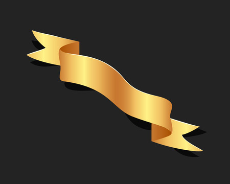 Hand drawn gold satin ribbons on blacke background isolated. Flat objects for your design. Vector art illustration 向量圖像