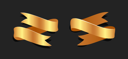 Hand drawn gold satin ribbons on blacke background isolated. Flat objects for your design. Vector art illustration Foto de archivo - 128486798