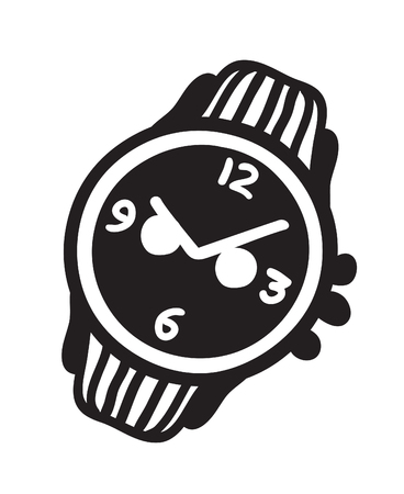 Hand drawn watch. Doodle vector clocks. Artistic drawing object. Creative ink art work Illustration
