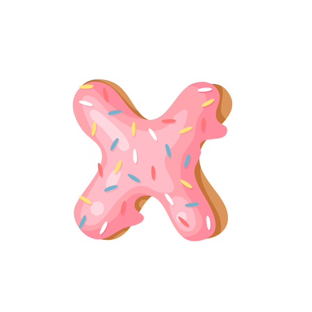 Cartoon vector illustration Donut Letters X. Hand drawn font with sweet bun. Actual Creative art bake alphabet