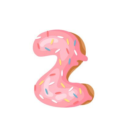 Cartoon vector illustration Donut Number 2. Hand drawn font with sweet bun. Actual Creative art bake alphabet