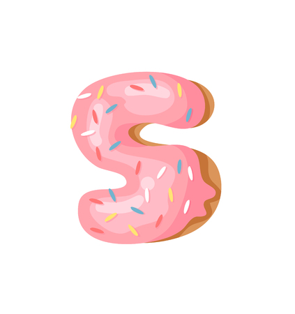 Cartoon vector illustration Donut Number 5. Hand drawn font with sweet bun. Actual Creative art bake alphabet