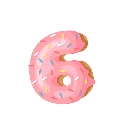 Cartoon vector illustration Donut Number 6 . Hand drawn font with sweet bun. Actual Creative art bake alphabet