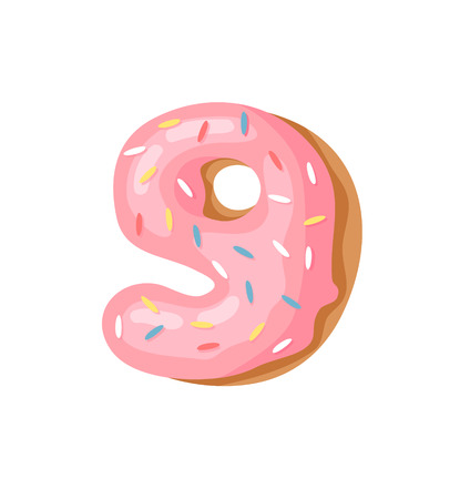 Cartoon vector illustration Donut Number 9. Hand drawn font with sweet bun. Actual Creative art bake alphabet