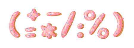 Cartoon vector illustration donut. Hand drawn font with sweet bun. Actual Creative art bake alphabet