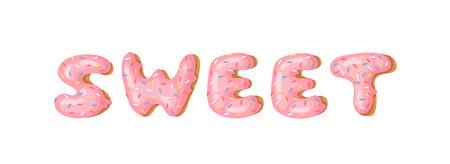 Cartoon vector illustration donut and word SWEET. Hand drawn drawing sweet bun. Actual Creative art work bake