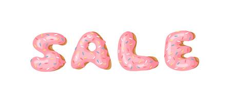Cartoon vector illustration donut and word SALE. Hand drawn drawing sweet bun. Actual Creative art work bake Illustration