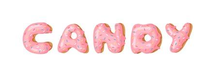 Cartoon vector illustration donut and word CANDY. Hand drawn drawing sweet bun. Actual Creative art work bake