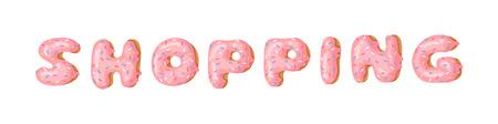 Cartoon vector illustration donut and word SHOPPING. Hand drawn drawing sweet bun. Actual Creative art work bake Stock fotó - 128486825