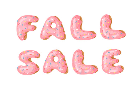 Cartoon vector illustration donut and word FALL SALE. Hand drawn drawing sweet bun. Actual Creative art work bake