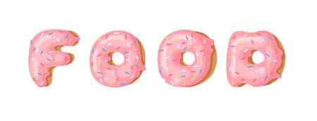 Cartoon vector illustration donut and word FOOD. Hand drawn drawing sweet bun. Actual Creative art work bake Illustration