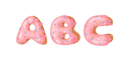 Cartoon vector illustration Donut Letters ABC. Hand drawn font with sweet bun. Actual Creative art bake alphabet