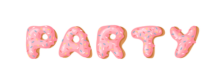 Cartoon vector illustration donut. Hand drawn word PARTY with sweet bun. Actual Creative art work bake