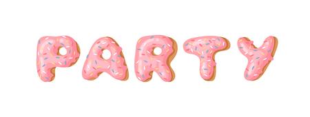 Cartoon vector illustration donut. Hand drawn word PARTY with sweet bun. Actual Creative art work bake