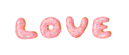 Cartoon vector illustration donut and word LOVE. Hand drawn drawing sweet bun. Actual Creative art work bake
