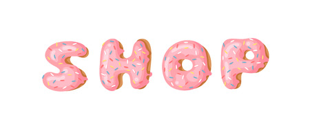 Cartoon vector illustration donut and word SHOP. Hand drawn drawing sweet bun. Actual Creative art work bake