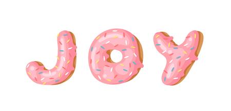 Cartoon vector illustration donut and word JOY. Hand drawn drawing sweet bun. Actual Creative art work bake