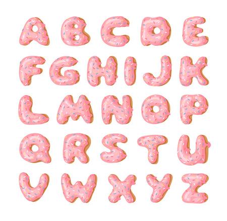 Cartoon-Vektor-Illustration rosa Donut ABC. Handgezeichnete Schrift mit süßem Brötchen. Tatsächliche kreative Kunst backen Alphabet