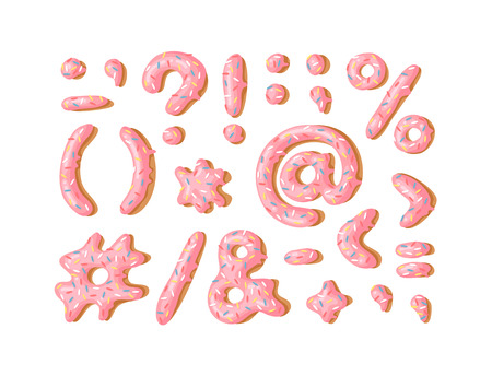 Cartoon vector illustration donut. Hand drawn font with sweet bun. Actual Creative art bake alphabet