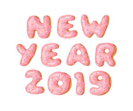 Cartoon vector illustration donut. Hand drawn word NEW YEAR 2019 with sweet bun. Actual Creative art work bake