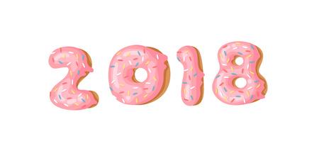 Cartoon vector illustration donuts. Hand drawn set of numbers 2018 with sweet bun. Actual Creative art work bake