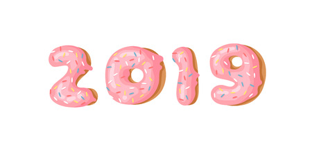 Cartoon vector illustration donuts. Hand drawn set of numbers 2019 with sweet bun. Actual Creative art work bake