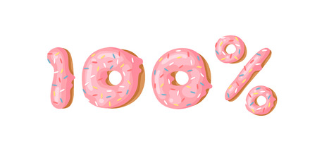 Illustration vectorielle de dessin animé 100 pour cent de beignet. Ensemble de nombres dessinés à la main avec un petit pain sucré. Réel travail d'art créatif cuire au four