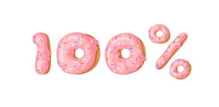Cartoon vector illustration 100 percent  donut. Hand drawn set of numbers with sweet bun. Actual Creative art work bake