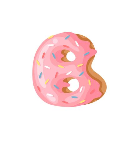 Cartoon vector illustration Donut Letters B. Hand drawn font with sweet bun. Actual Creative art bake alphabet