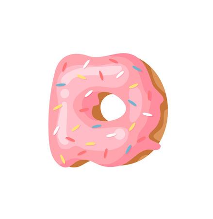 Cartoon vector illustration Donut Letters D. Hand drawn font with sweet bun. Actual Creative art bake alphabet