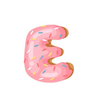 Cartoon vector illustration Donut Letters E. Hand drawn font with sweet bun. Actual Creative art bake alphabet Illustration