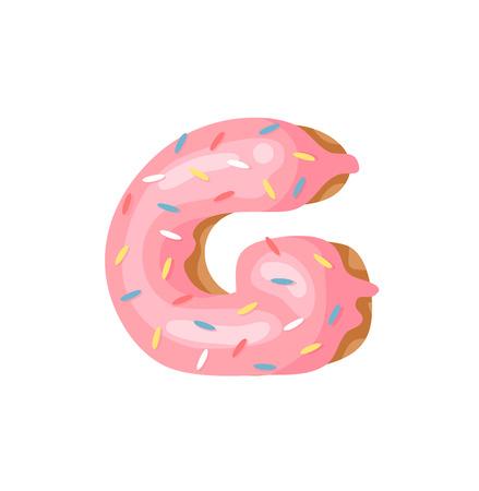 Cartoon vector illustration Donut Letters G. Hand drawn font with sweet bun. Actual Creative art bake alphabet