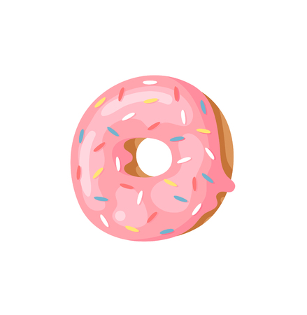 Cartoon vector illustration Donut Letters O. Hand drawn font with sweet bun. Actual Creative art bake alphabet 矢量图像