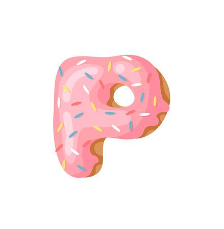 Cartoon vector illustration Donut Letters P. Hand drawn font with sweet bun. Actual Creative art bake alphabet