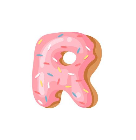 Cartoon vector illustration Donut Letters R. Hand drawn font with sweet bun. Actual Creative art bake alphabet Illustration