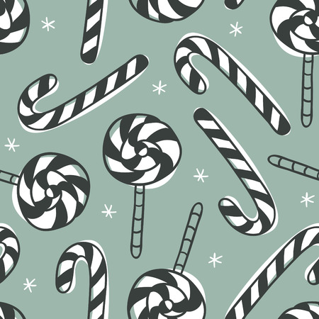 Hand drawn Christmas seamless pattern with candy on green background. Creative ink art work. Actual vector doodle drawing sweets