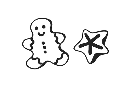 Hand drawn Christmas Gingerbread cookies on white background. Creative ink art work. Actual vector doodle drawing Illustration