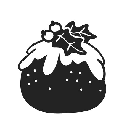 Hand drawn Christmas pudding on white background. Creative ink art work. Actual vector doodle drawing