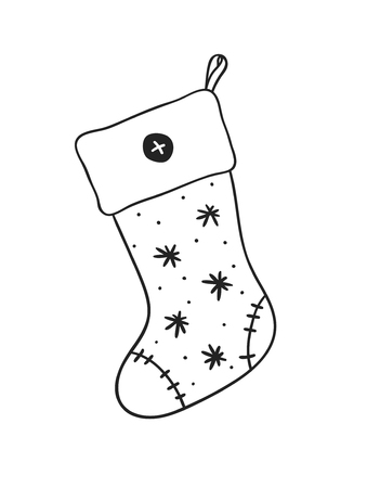 Hand drawn Christmas sock on white background. Creative ink art work. Actual vector doodle drawing decorations