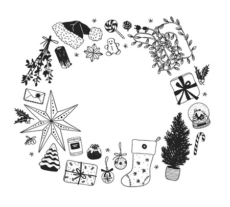 Hand drawn Christmas illustration frame. Creative ink art work. Actual cozy vector drawing. Winter set of Holidays things, accessories, decoration, food, drinks