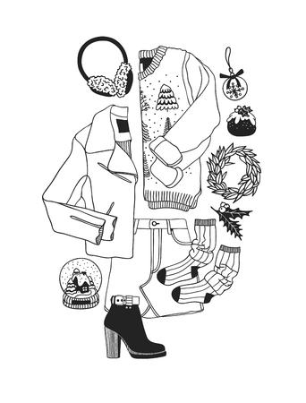 Illustration de Noël dessinée à la main. Oeuvre d'art à l'encre créative. Dessin vectoriel confortable réel. Ensemble d'hiver de choses de vacances, accessoires, décoration, nourriture, boissons, usure