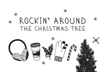 Hand drawn Christmas tree, set for rink on white background. Creative ink art work. Actual vector doodle drawing and text ROCKIN AROUND THE CHRISTMAS TREE Иллюстрация