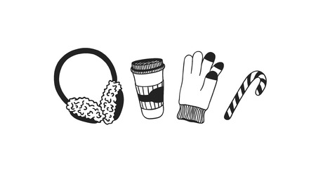 Hand drawn Christmasset for warm on white background. Creative ink art work. Actual vector doodle drawing 일러스트