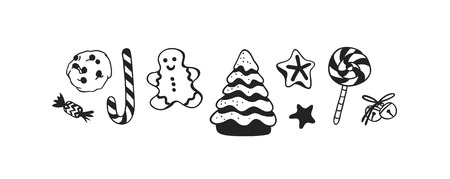 Hand drawn Christmas set of sweets on white background. Creative Holidays ink art work. Actual vector doodle drawing Standard-Bild - 127269206