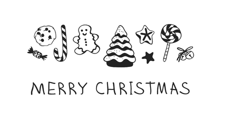 Hand drawn Christmas set of sweets on white background. Creative Holidays ink art work. Actual vector doodle drawing and text MERRY CHRISTMAS Standard-Bild - 127269207