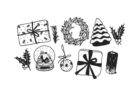 Hand drawn Christmas toys and things on white background. Creative ink art work. Actual vector doodle drawing