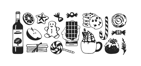Hand drawn Christmas set of food: candy cane, pudding, gingerbread cookies, tea or coffee, latte, bun, chocolate, wine on white background. Creative Holidays ink art work. Actual vector doodle drawing